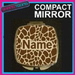 GIRAFFE PRINT WITH PERSONALISED NAME GIFT COMPACT LADIES METAL HANDBAG MIRROR